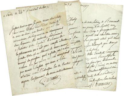 82. Antoine PARMENTIER  3 L.A.S., 1803-1807,...