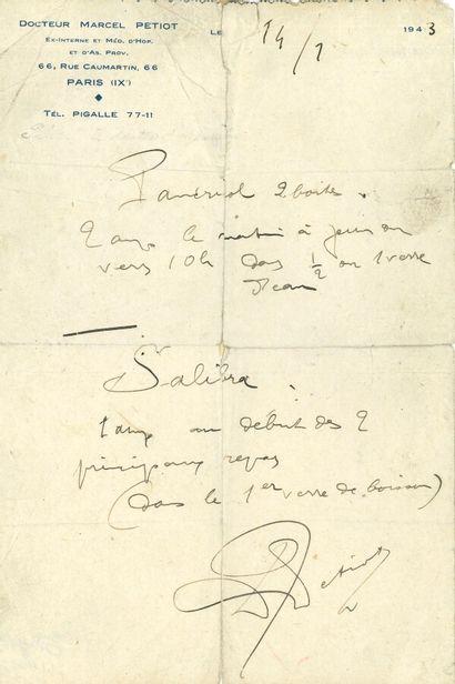 85. Marcel PETIOT (1897-1946) médecin et...