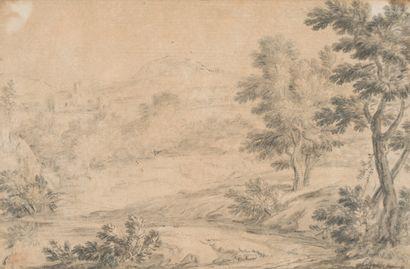 4. École flamande vers 1700  Paysage  Crayon...