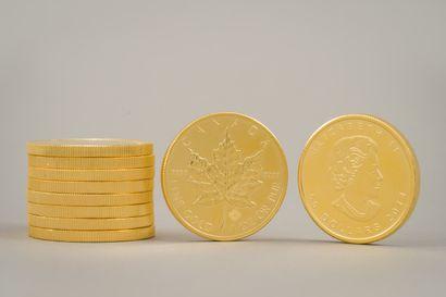 103.1. 10 Pièces or de 50 dollars canadiens...