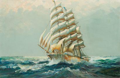 45. Roger CHAPELET (1903-1995)  Trois-mâts battant pavillon américain dans les mers...
