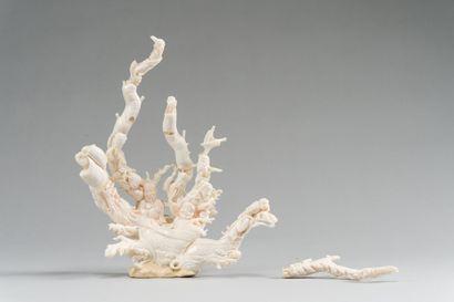 169. CHINE  Important groupe en corail blanc,...