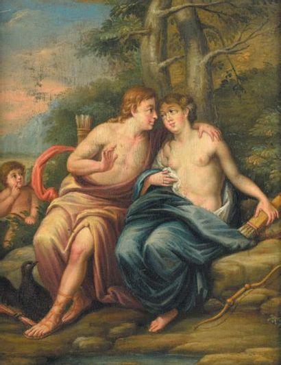 «Les amours de Jupiter» Deux huiles sur panneau...