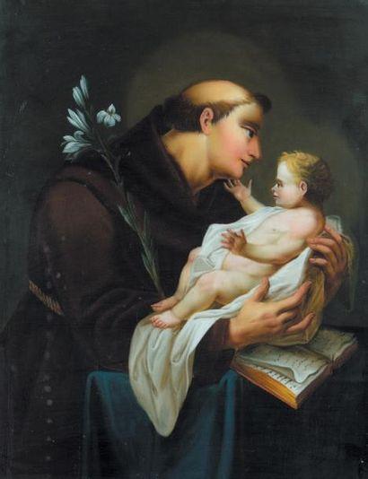 «Saint François tenant l'Enfant Jésus» Fixé...
