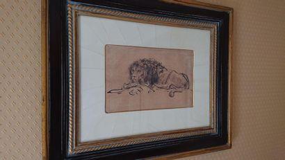 Reproduction «Lion couché» 32 x 43 cm.