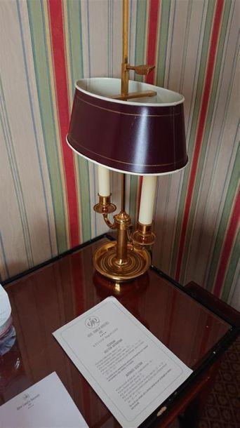 Lampe bouillotte à deux lumières, abat-jour...