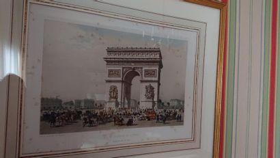 Paire de gravures en couleur «Arc de triomphe»...