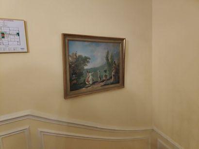 Procédé encadré «Vue de Naples». 71 x 80...