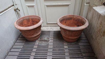 2 pots en terre cuite (H: 47 cm D: 55 cm)...