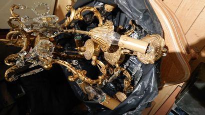 13 Lustres à pampilles en bronze doré de...