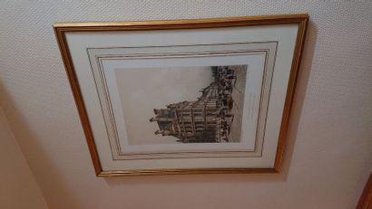 3 gravures «vue de Paris» 43 x 32 cm.