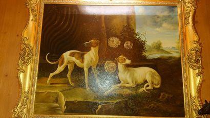 Dans le goût d'OUDRY «Deux chiens et roses...