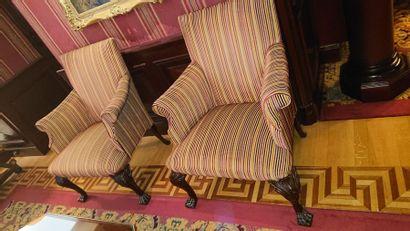 Paire de fauteuils confortables, tissu à...