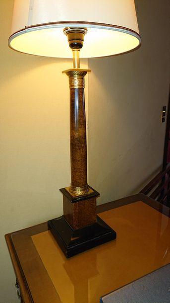 Lampe colonne en loupe et métal doré style...