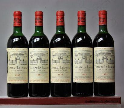 5 bouteilles CHÂTEAU LA LAGUNE - Médoc 1985...