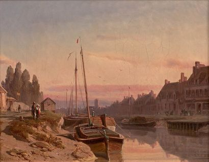 Antoine Léon MOREL FATIO (1810-1871) Soleil couchant, bateaux à quai, Abbeville Huile...
