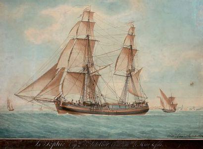 Antoine II ROUX (1799-1872) Le Sophie, Capitaine Letellier, armateur Mr. Le Mire...