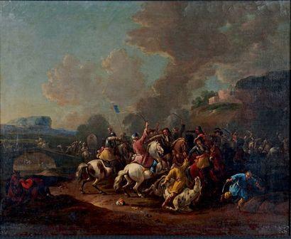 Simon Van DOW (vers 1630-1677) Scènes de bataille Deux huiles sur toile, rentoilées,...