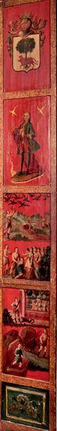 Grand paravent double face à quinze feuilles ornées de personnages, paysages animés,...