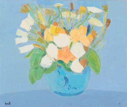 Jean RENAULT Bouquet au vase bleu