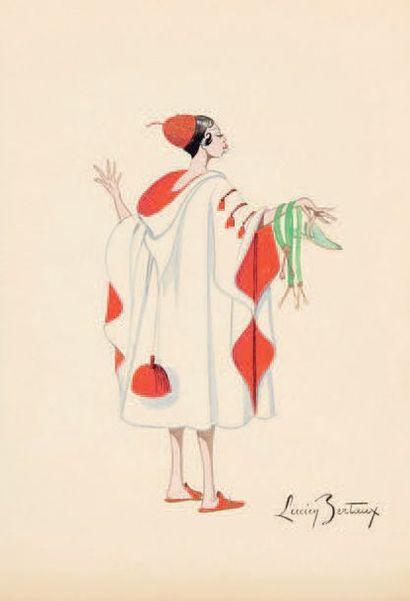 [BAKER (Freda Josephine McDonald dite Joséphine)].- BERTAUX (Lucien). 5 dessins originaux,...