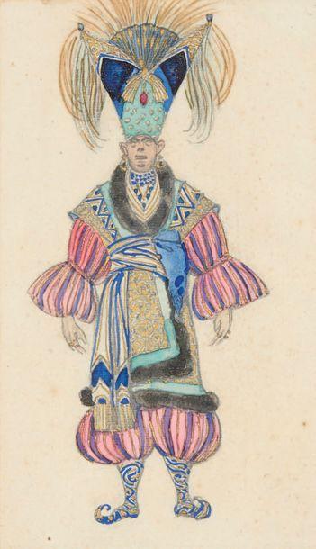 BAKST (Lev Samuilovitch Rosenberg, dit Léon). Dessin original. Costume pour le personnage...