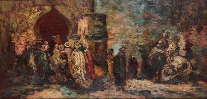 Adolphe Monticelli (1824-1886) À l'entrée de la mosquée Huile sur panneau. 49 x 100...