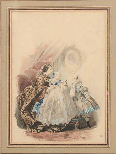 Attribué à Jules DAVID Mère et enfants Deux aquarelles. 25 x 18 cm