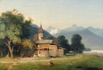 Louis Auguste LAPITO (1805-1874) Ferme aux pieds des montagnes au bord du lac Huile...