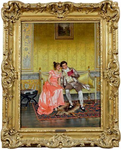 Vittorio REGGIANINI (1858-1938) La lecture Huile sur toile signée en bas à gauche....