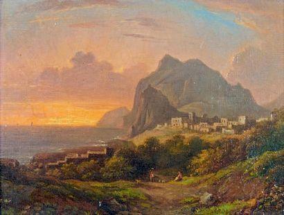 ÉCOLE FRANÇAISE, vers 1820 Vue de Capri Huile sur toile d'origine. 19 x 24 cm