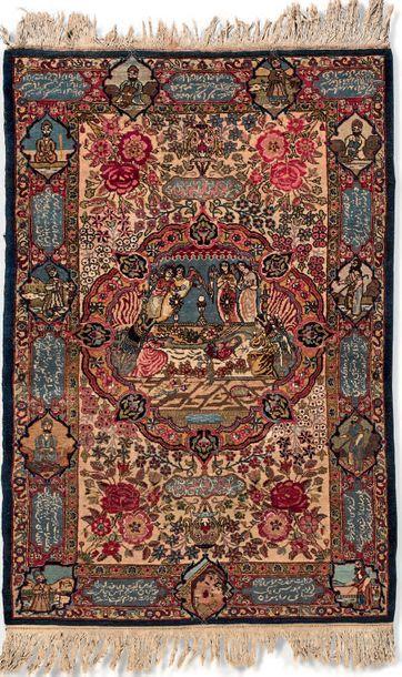 Petit tapis Kirman «arménien» en laine à...