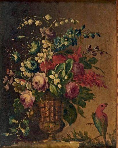 Ecole Italienne du XVIIIe siècle Bouquet de fleurs dans un vase et oiseau Deux huiles...