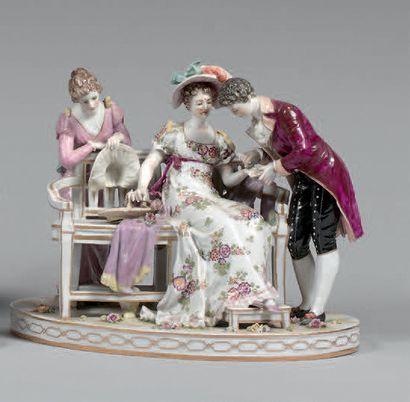 Groupe en porcelaine polychrome de Capo di...