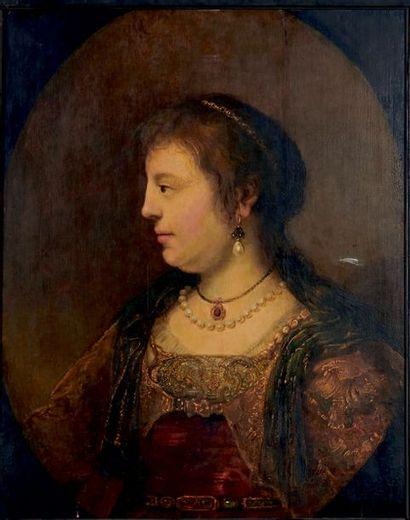 École HOLLANDAISE du XIXe siècle Portrait de Saskia de profil, d'après Rembrandt...