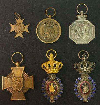 Belgique - lot de six médailles sans ruban:...