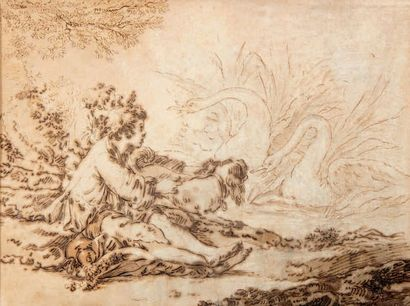 Attribué à Jean-Baptiste HUET (1745-1811) Jeune paysan avec chien surprenant des...