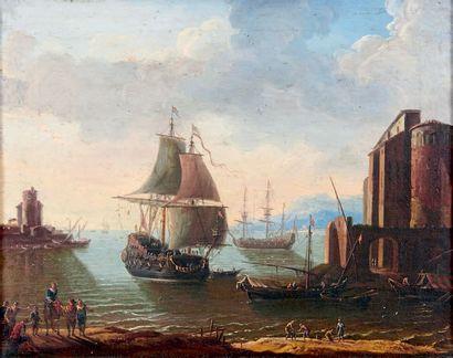 École FRANÇAISE du XVIIIe siècle Vaisseaux au port Huile sur toile rentoilée. 35...