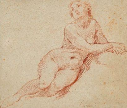 Attribué à François LEMOINE (1688-1737) Étude de nu aux mains jointes Sanguine, porte...