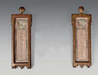 Deux mois de calendriers gravés ornés d'autels...