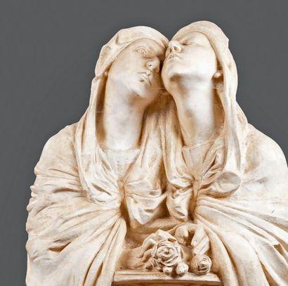 Paul Dardé (1888-1963) Les Pleureuses Grande statue en plâtre, signée. Hauteur: 200...