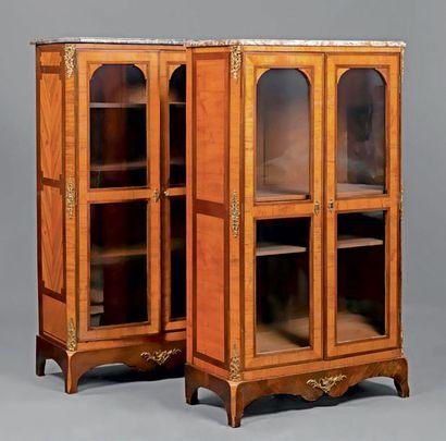 Deux vitrines formant paire en placage de...