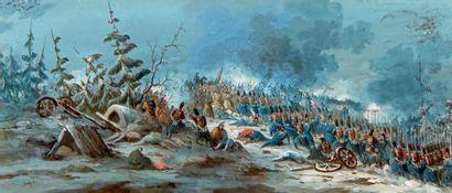 École Française du XIXe siècle Campagne de Russie Gouache, porte une signature en...