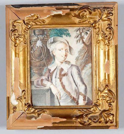 École FRANÇAISE du XVIIIe siècle Portrait de jeune homme en berger Miniature sur...