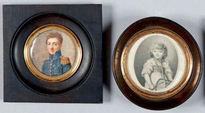 École Française du XIXe siècle - Enfant au tambour Miniature ovale. 6,5 x 5 cm -...
