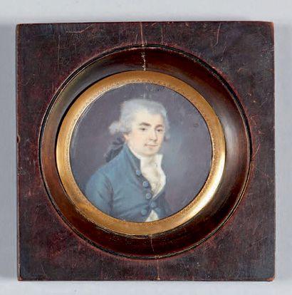 École Française du XIXe siècle - Portrait d'homme - Portrait de femme Deux miniature,...