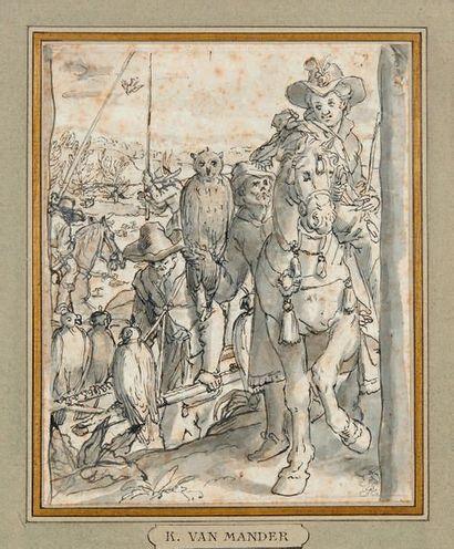 Attribué à Karel van MANDER (1546-1606) Departure for the hunt for falcons Feather,...
