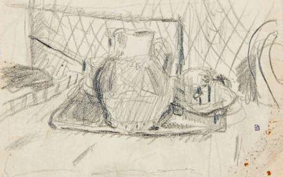 Pierre BONNARD (1867-1947) Étude pour nature morte au pichet rouge, vers 1943 Dessin...