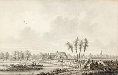 Nicolas WICART (1748-1815) Paysage avec rivière, animé de personnages Plume et lavis,...
