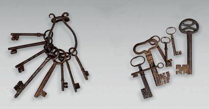 Ensemble de huit clefs et un anneau porteclefs...